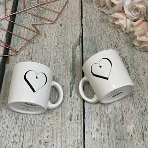 Indigo heart espresso cups red white coffee mugs